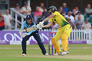 Ellyse Perry of Australia (8) caught behind off Anya Shrubsole of England (41)during the Royal London Women's One Day International match between England Women Cricket and Australia at the Fischer County Ground, Grace Road, Leicester, United Kingdom on 4 July 2019.