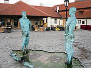 The Piss Sculpture (Two Pissing Men statue) by David Cerny, Prague, Czech Republic