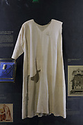 Tunic of Saint-Louis, or Louis IX of France, 1214-70, linen, missing the left sleeve, catalogued in the collection since the 15th century, housed in the Salle du Tresor, or Treasury, in the Sacristie du Chapitre, built in the 19th century under Viollet le Duc, South of the choir, in the Cathedrale Notre-Dame de Paris, or Notre-Dame cathedral, built 1163-1345 in French Gothic style, on the Ile de la Cite in the 4th arrondissement of Paris, France. The Treasury was completely renovated in 2012. Photographed on 17th December 2018 by Manuel Cohen