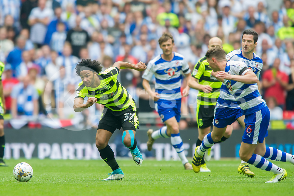 Isaiah Brown of Huddersfield Town during the EFL Sky Bet Championship Play-Off Final match between Huddersfield Town and Reading at Wembley Stadium, London, England on 29 May 2017. Photo by Salvio Calabrese.