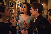 VICTORIA HOBBS; KAMILA SHAMSIE; ALEXANDRA PRINGLE, The Walter Scott Prize for Historical Fiction 2015 - The Duke of Buccleuch hosts party to for the shortlist announcement. <br /> The winner is announced at the Borders Book Festival in Scotland in June.John Murray's Historic Rooms, 50 Albemarle Street, London, 24 March 2015.