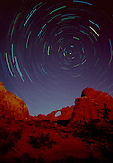 Moonlight and star trails at Skyline Abrch, Arches National Park