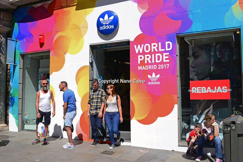 "Adidas store in Fuencarral.""Whoever you love, Madrid loves you"" is the slogan of this year´s edition of WorldPride, the most important worldwide event for the LGBT Community. This major festival coincides with the 40th anniversary of the first LGBT Pride protest in Spain."