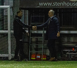 Stenhousemuir's coach Colin McMenamin and Falkirk's manager Ray McKinnon at the end. Stenhousemuir 4 v 2 Falkirk, 3rd Round of the William Hill Scottish Cup played 24/11/2018 at Ochilview Park, Larbert.