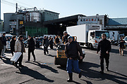 "Streets are crowded by tourists , workers and shoppers near Tsukiji fish market in Tokyo Friday, Dec. 30, 2017. Tsukiji fish market is crowded by shoppers who look for ingredients for ""osechi"" or Japanese traditional New Year dishes.  30/12/2017-Tokyo, JAPAN"