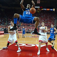 11 February 2006:   Shelden Williams (23) of the Duke University Blue Devils slams in two of his 26 points against the University of Maryland Terrapins at the Comcast Center in College Park, Md. in a game won by the Blue Devils 96-88.