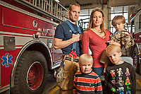 Firefighter and EMT, Greg Wahlman and his wife, Janey and sons Cai, Caleb, and Cob,  at Firehouse #1 on Easter Sunday, Anchorage, Alaska