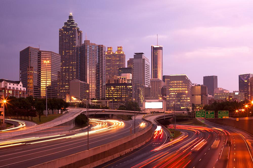 Downtown Atlanta at night, Georgia, USA
