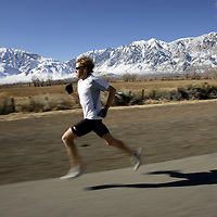 BISHOP, CA, January 19, 2008: Ryan Hall trains for the Olympics at the base of the Eastern Sierra mountains. Photographed for Sports Illustrated.
