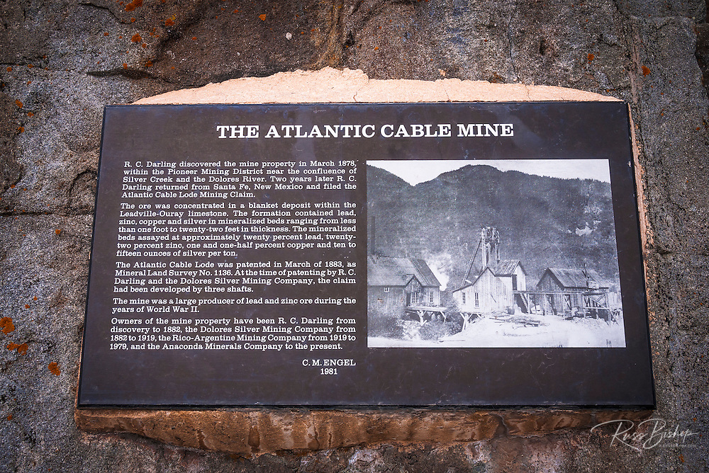 Interpretive plaque at the Rico silver mine, Rico, Colorado USA
