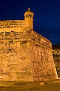 Colonial city walls, Bulwark of Santa Catalina, Cartagena de Indias, Bolivar Department,, Colombia, South America.