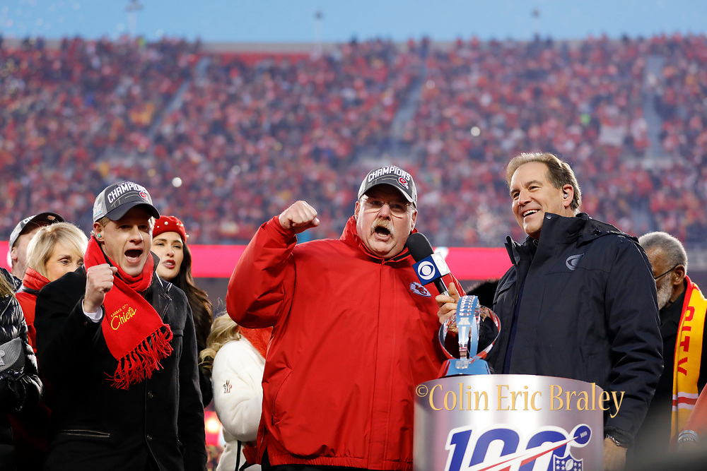 Kansas City Chiefs owner Clark Hunt, left, and head coach Andy Reid, center, celebrate winning a NFL AFC Championship football game against the Tennessee Titans Sunday, Jan. 19, 2020, in Kansas City, MO. The Chiefs won 35-24 to advance to Super Bowl 54. (AP Photo/Colin E. Braley) Colin Eric Braley Photography