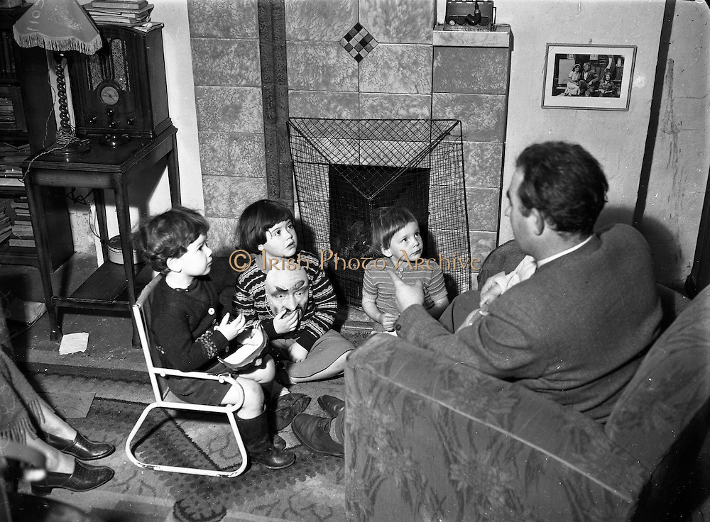 Children with masks for Halloween at Botanic Road, Glasnevin on the 23rd of October 1952. Pictures from Liam Robinson.
