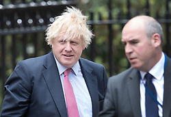 © Licensed to London News Pictures. 17/07/2018. London, UK. Boris Johnson leaves the official residence of the foreign secretary for Parliament. Photo credit: Peter Macdiarmid/LNP