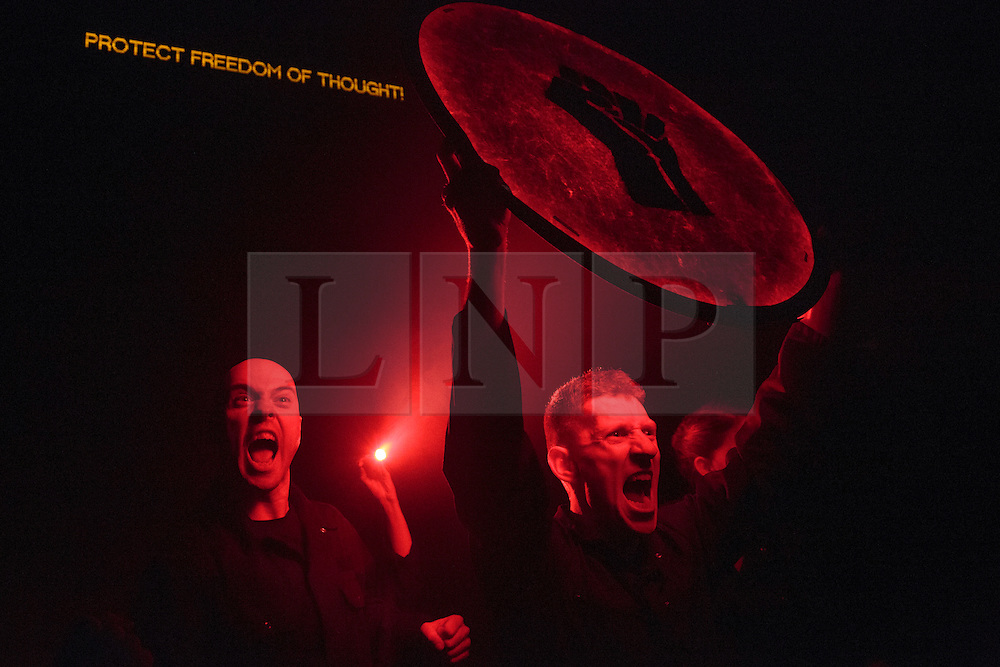 """© Licensed to London News Pictures. 20/01/2015. London, England. Pictured: L-R: Michael Sharman, Robin Guiver and Charlotte Dubery performing. Theatre Ad Infinitum present their show """"Light"""" at the Pit Theatre, Barbican Centre, London, UK. The show is part of the London International Mime Festival (LIMF) and runs from 20-24 January 2015. """"Light"""" is written and directed by George Mann with Charlotte Dubery, Matthew Gurney, Robin Guiver, Deborah Pugh and Michael Sharman performing. Photo credit: Bettina Strenske/LNP"""
