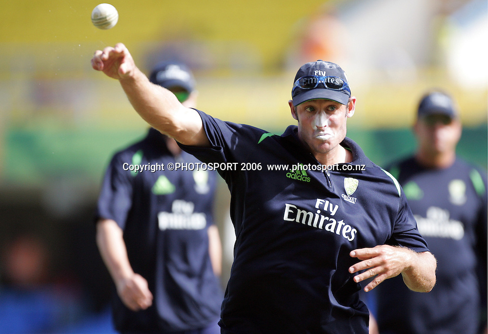 Michael Hussey warms up at the Super 8 Cricket World Cup match, West Indies vs Australia at the Sir Vivian Richards Cricket Ground in Antigua, West Indies on Wednesday 28 March 2007. Australia batted first and scored 322 for 6. Play continued today after rain stopped play yesterday.Australia won by 103 runs. Photo: Andrew Cornaga/PHOTOSPORT<br /><br /><br />280307