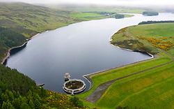 Aerial view of Whiteadder reservoir in East Lothian. Scotland, UK.
