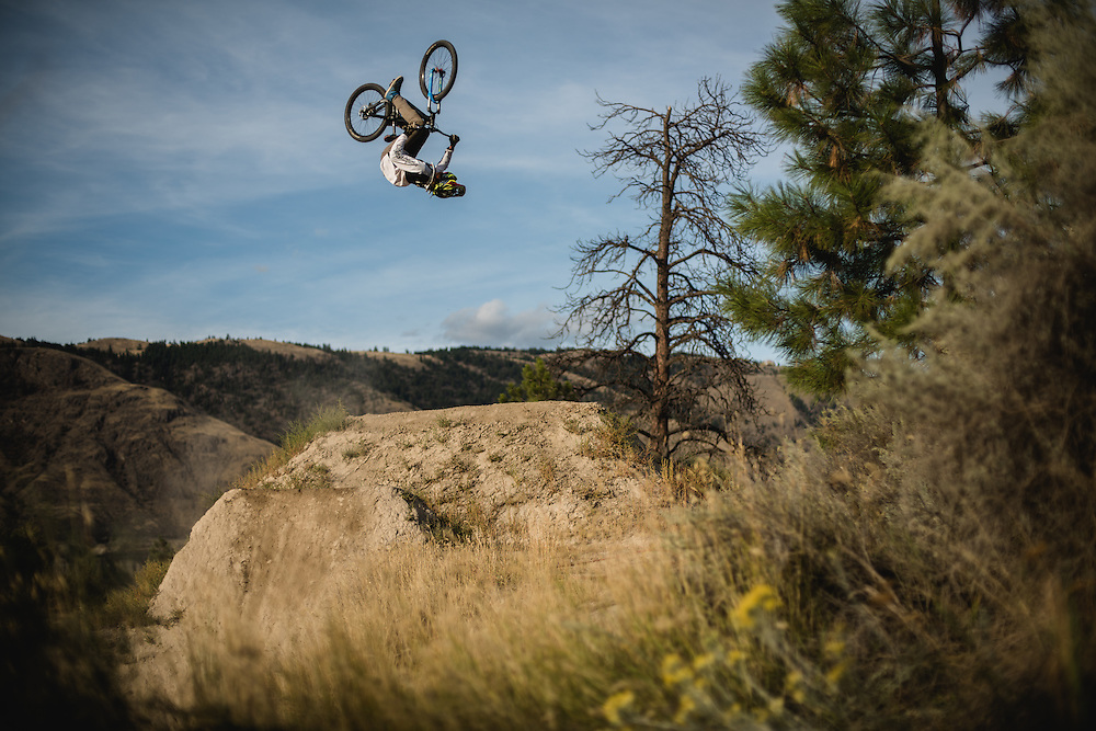 Reilly Horan feels right at home in kamloops as he tosses a completely sideways cork flip at the bike ranch.