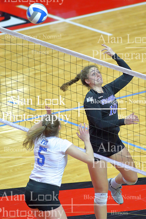 23 November 2017:  Rachel Griffin soft hands a delivery past Natalie Fry during a college women's volleyball match between the Drake Bulldogs and the Indiana State Sycamores in the Missouri Valley Conference Tournament at Redbird Arena in Normal IL (Photo by Alan Look)