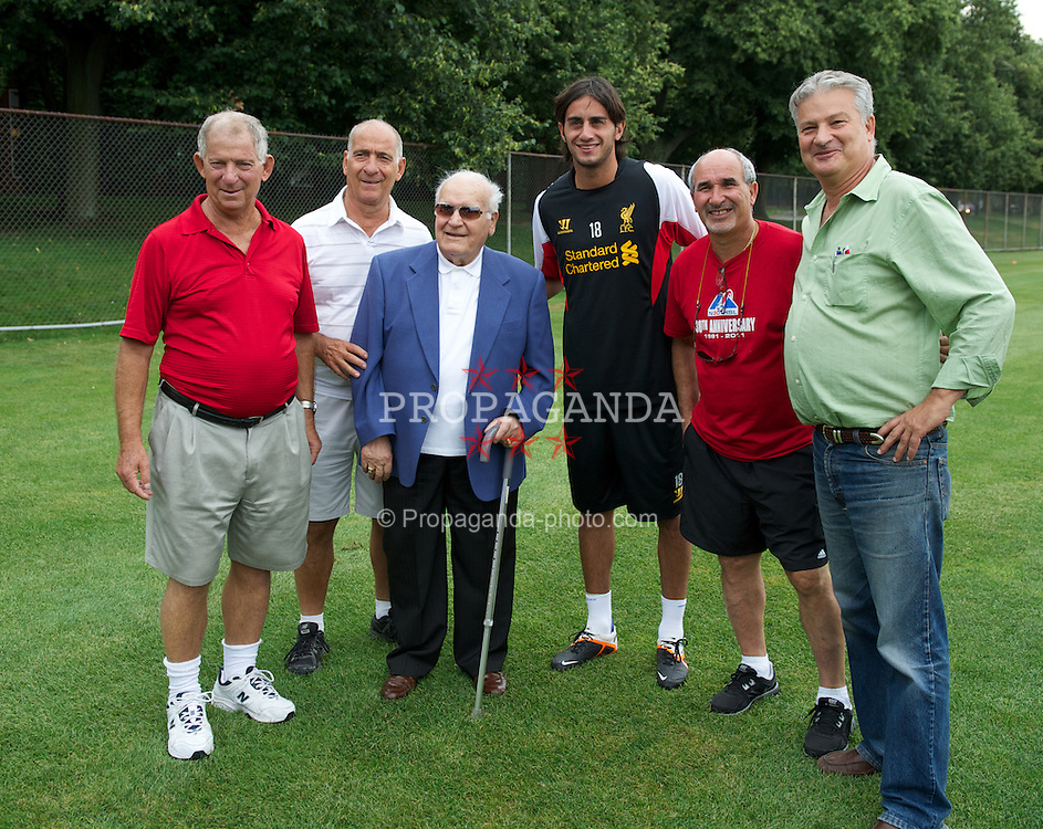 BOSTON, MA - Monday, July 23, 2012: Liverpool's Alberto Aquilani meets players from Boston who played against Liverpool in 1963, before a training session at the Harvard Stadium fields ahead of the pre-season match against AS Roma during the club's North American pre-season tour. (Pic by David Rawcliffe/Propaganda)