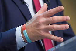 © Licensed to London News Pictures . 08/10/2014 . Glasgow , UK . NICK CLEGG , wearing a Help for Heroes wristband , delivers his keynote speech at the close of the conference . The Liberal Democrat Party Conference 2014 at the Scottish Exhibition and Conference Centre in Glasgow . Photo credit : Joel Goodman/LNP