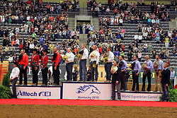 Team medals reining :<br /> 1. USA : Tim McQuay, Craig Schmersal, Tom McCutcheon, Shawn Flarida<br /> 2. BEL : Jan Boogaerts, Cira Baeck, Ann Poels, Bernard Fonck<br /> 3. ITA : Marco Ricotta, Stefano Massignan, Dario Carmignani, Nicola Brunelli<br /> Alltech FEI World Equestrian Games <br /> Lexington - Kentucky 2010<br /> © Dirk Caremans