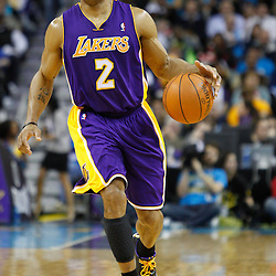 December 29, 2010; New Orleans, LA, USA; Los Angeles Lakers point guard Derek Fisher (2) against the New Orleans Hornets during the second half at the New Orleans Arena. The Lakers defeated the Hornets 103-88.  Mandatory Credit: Derick E. Hingle