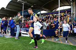Mascot runs out with Francois Hougaard of Worcester Warriors before the Bath Rugby game - Mandatory by-line: Dougie Allward/JMP - 15/04/2017 - RUGBY - Sixways Stadium - Worcester, England - Worcester Warriors v Bath Rugby - Aviva Premiership