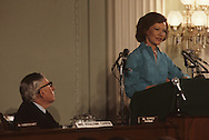 First lady Rosalynn Carter testifying before a committee of the House of Representatives  with Chariman Claude Pepper listening in May 1979.<br /> <br /> Photograph by Dennis Brack<br /> bb45