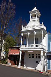 Historic Firehouse No. 1 (presently museum) with belltower and gingerbread trim, 215 Main Street, Nevada City, California, United States of America
