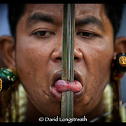 "In this ""Signature Series"" image by David Longstreath, a devotee has his tounge pierced as part of the Phuket, Thailand, Vegetarian Festival.  he annual festival in Phuket is held on a annual basis and begins usually in late September of early October depending on the lunar cycle."