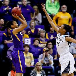 Mar 26, 2013; Baton Rouge, LA, USA; LSU Tigers guard Adrienne Webb (10) shoots over Penn State Lady Lions forward Ariel Edwards (23) in the second half during the second round of the 2013 NCAA womens basketball tournament at Pete Maravich Assembly Center. LSU defeated Penn State 71-66. Mandatory Credit: Derick E. Hingle-USA TODAY Sports
