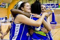 Kristina Verbole, Nikya Hughes and Ivona Matic of Celje celebrate at finals match of Slovenian 1st Women league between KK Hit Kranjska Gora and ZKK Merkur Celje, on May 14, 2009, in Arena Vitranc, Kranjska Gora, Slovenia. Merkur Celje won the third time and became Slovenian National Champion. (Photo by Vid Ponikvar / Sportida)