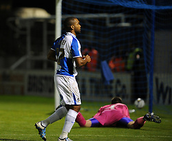 The ball nestles in the net Jermaine Easter of Bristol Rovers scored the second goal - Mandatory byline: Neil Brookman/JMP - 07966 386802 - 06/10/2015 - FOOTBALL - Memorial Stadium - Bristol, England - Bristol Rovers v Wycombe Wanderers - JPT Trophy