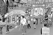 NUPE and COHSE banners. 1988 Yorkshire Miner's Gala. Wakefield.