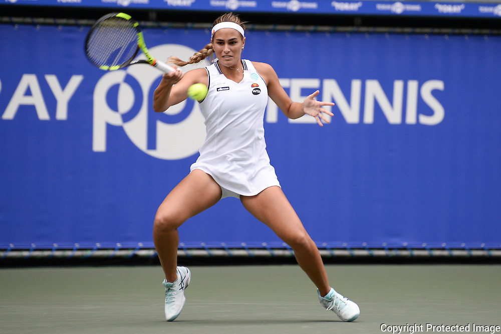 SEPTEMBER 21: Monica Puig of Puerto Rico Olympic gold medal winner competes against Petra Kvitova of Czech Repuplic during women's singles match day three of the Toray Pan Pacific Open at Ariake Colosseum on September 21, 2016 in Tokyo, Japan 21/09/2016-Tokyo, JAPAN