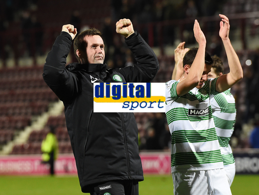 30/11/14 WILLIAM HILL SCOTTISH CUP 4TH RND<br /> HEARTS v CELTIC <br /> TYNECASTLE<br /> Celtic manager Ronny Deila celebrates at the full time whistle