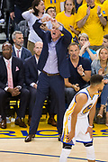 Golden State Warriors head coach Steve Kerr calls out plays during Game 2 of the NBA Finals against the Cleveland Cavaliers at Oracle Arena in Oakland, Calif., on June 4, 2017. (Stan Olszewski/Special to S.F. Examiner)