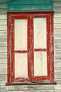 Window of Caribbean style wooden house. Colon Island, Bocas del Toro, Panama, Caribbean, Central America.