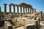Tempio C Acropoli ruins of ancient temples at Selinunte in Sicily, Italy - the largest archeological park in Europe.