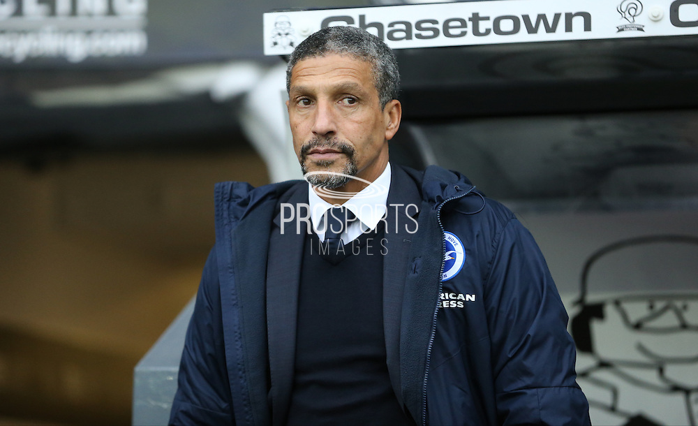 Brighton Manager, Chris Hughton during the Sky Bet Championship match between Derby County and Brighton and Hove Albion at the iPro Stadium, Derby, England on 12 December 2015.