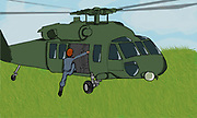 Digital computerized artwork of a soldier boarding a military helicopter in lush green grass