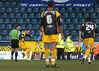 Photo: Alan Crowhurst.<br />Wycombe Wanderers v Stockport County. Coca Cola League 2. 28/01/2006. <br />Matthew Hamshaw (L) scores for Stockport.