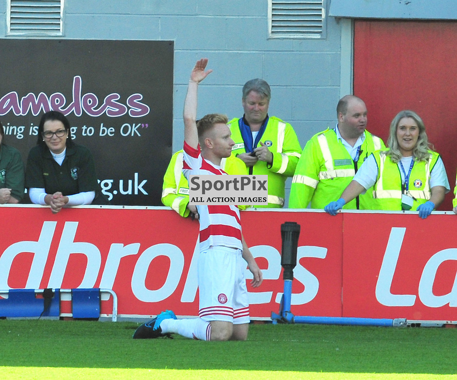 Ali Crawford of Accies celebrates towards the Hearts fans.....(c) BILLY WHITE | SportPix.org.uk