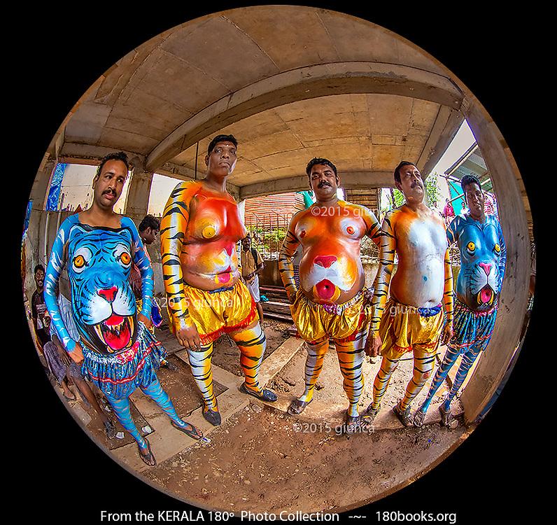Tiger dancer make-up in various stages of completion