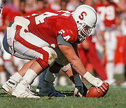 COLLEGE FOOTBALL:  Center Andy Sinclair #54 of Stanford plays in a game during October 1988 at Stanford Stadium in Palo Alto, California.  Photograph by David Madison | www.davidmadison.com.