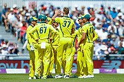 Australia ODI  team celebrate as England ODI batsman Joe Root nicks the delivery from Australia ODI bowler Billy Stanlake and is out for one run  during the 5th One Day International match between England and Australia at Old Trafford, Manchester, England on 24 June 2018. Picture by Simon Davies.