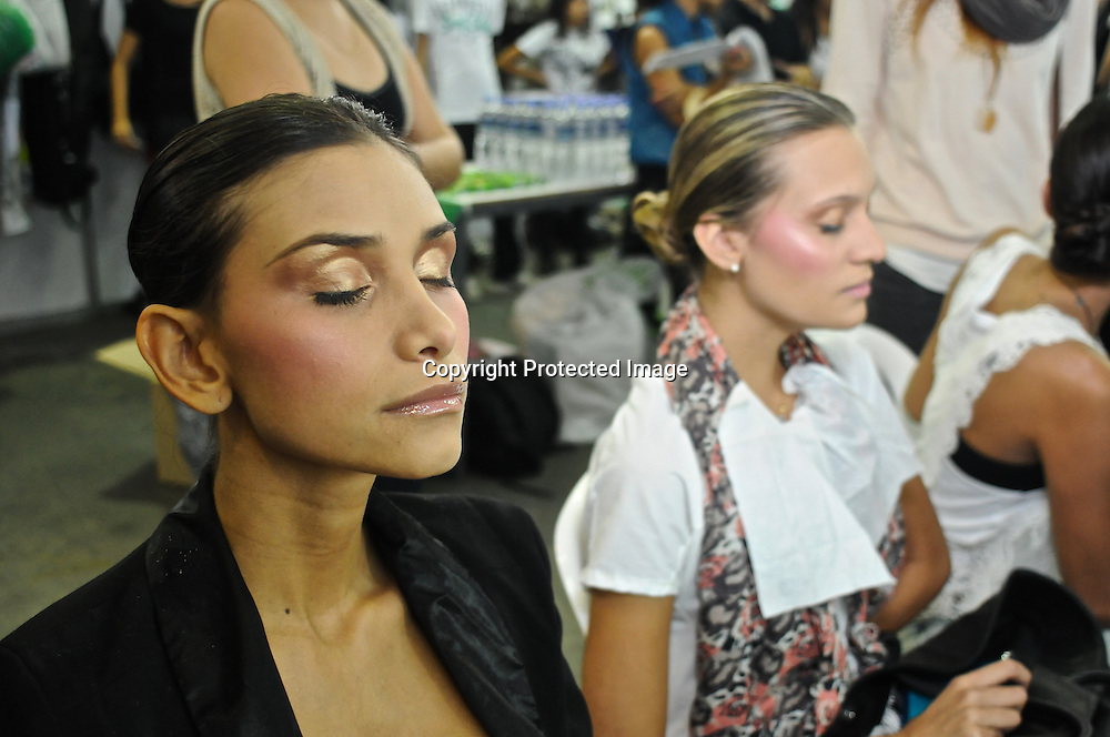 Make up session before the runway