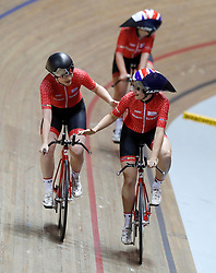 Team Breeze's Abigail Dentus (left) and Jessica Roberts celebrate winning the Team Pursuit Final, during day two of the HSBC UK National Track Championships at The National Cycling Centre, Manchester.