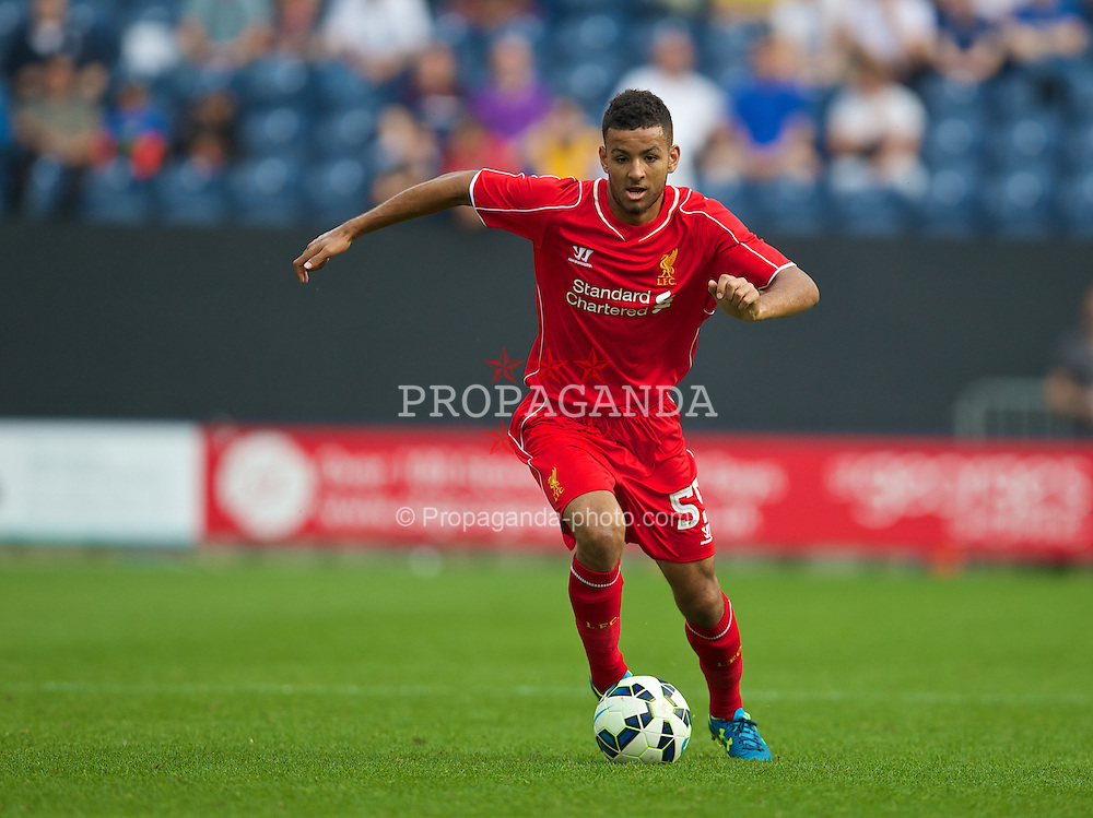 PRESTON, ENGLAND - Saturday, July 19, 2014: Liverpool's Kevin Stewart in action against Preston North End during a preseason friendly match at Deepdale Stadium. (Pic by David Rawcliffe/Propaganda)